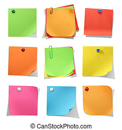 Colored notes isolated on white background