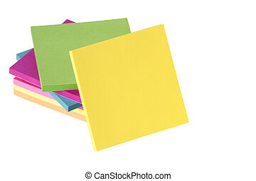 colored notes on white background