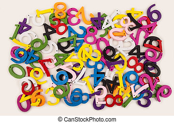 Colored numerals on a white background