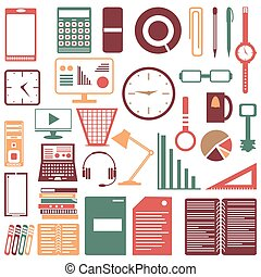 Colored office accessories collection of symbols