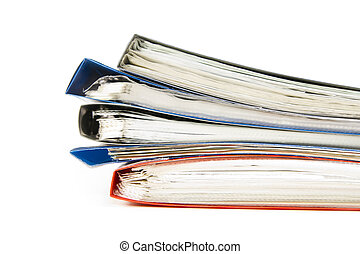 Colored office files are stacked isolated on white