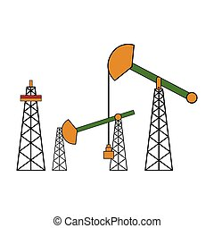 Colored oil drilling machine. Vector illustration design