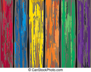 Colored old wooden fence background. Vector illustration.
