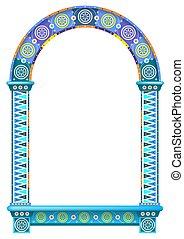 Colored ornamental arch door window frame