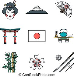 colored outline various japan icons set - vector color...