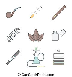 colored outline various tobacco goods tools icons set -...