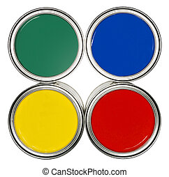 Colored Paint cans