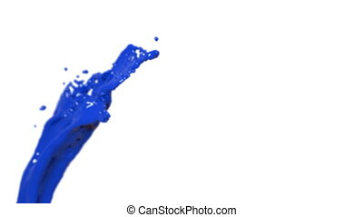 Colored paint. flying blue fluid stream in slow motion DOF