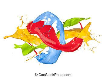 Colored paint splash isolated on white background