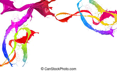 Colored paint splashes design isolated on white background