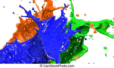 Colored paint splashes in slow moti