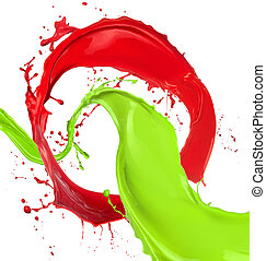 Colored paint splashes isolated on white background
