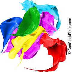 Colored paint splashes isolated on white background -...