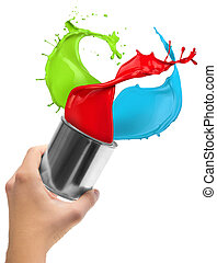 Colored paint splashing out of can, isolated on white background