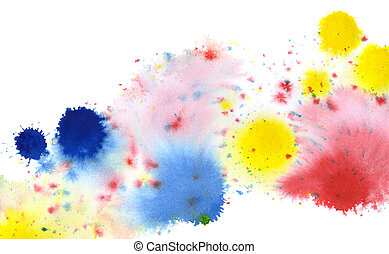 colored paint splatters in white back