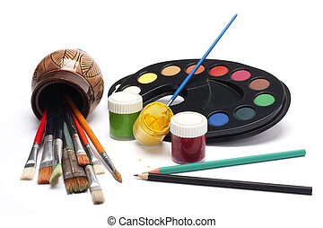paints - Colored paints on a white background