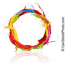 Colored paints splashes circle, isolated on white background...