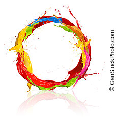 Colored paints splashes circle, isolated on white background...