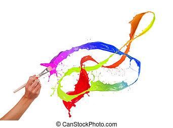 Colored paints splashing out of brush. Isolated on white background