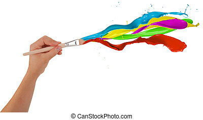 Colored paints splashing out of brush. Isolated on white background