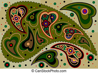 Abstract colored oriental paisley on light green background. Background