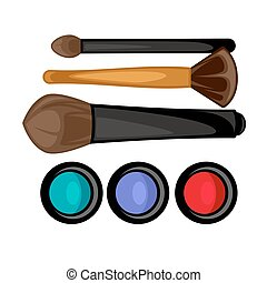 Colored pallets with eye shadows, brushes for eye makeup....
