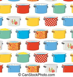 Colored pans. Seamless pattern for kitchen. Kitchen utensils texture ornament
