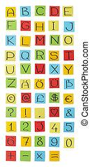 """Colored paper"" alphabet. Capital letters."