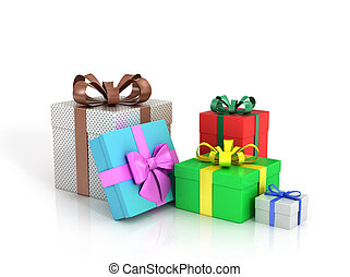 Colored paper boxes with gifts on a white background.