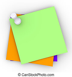 Colored Paper Notes - 3D Illustration. Isolated on white.