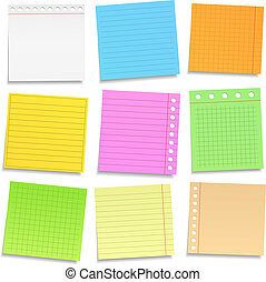 Colored paper notes - Set of different colored paper notes, ...
