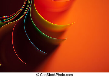 colored paper structure shaped as the sun - macro image of...