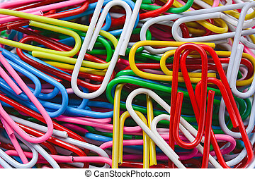 colored paperclips background