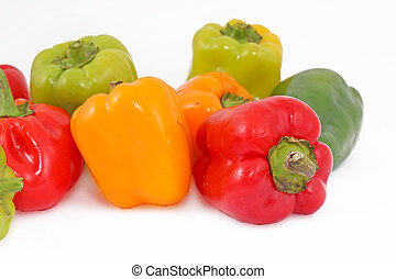 Colored paprika pepper isolated on a white background