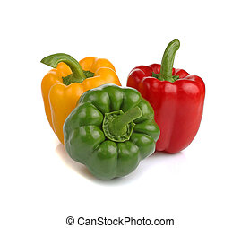 Colored paprika (pepper) isolated on a white background