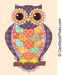 Colored patchwork owl. Vector quilt illustration.
