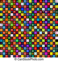 Colored pattern with geometrical shapes