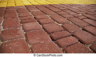 Colored Paving Stones in a Park in Motion