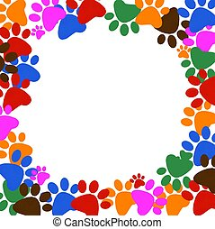 Colored pawprints frame on white background - Colored blue...