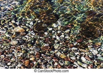 Colored pebbles in a transparent sea