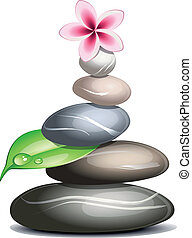 Colored pebbles over white