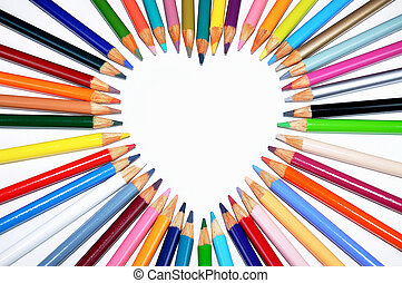 Colored pencil heart-shaped outline - Colored pencils...