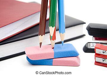Colored pencil on eraser
