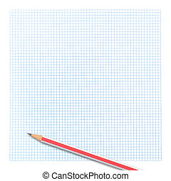 colored pencil on graph paper background