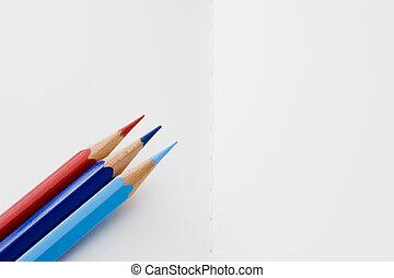 colored pencil on white book