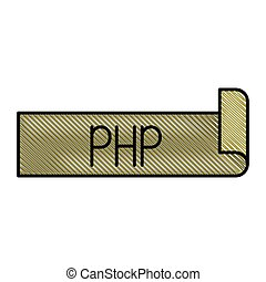 colored pencil silhouette label text of php vector...