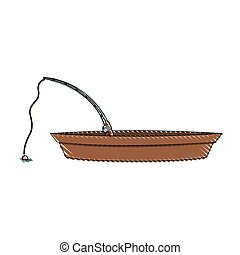 colored pencil silhouette of wooden fishing boat and rod