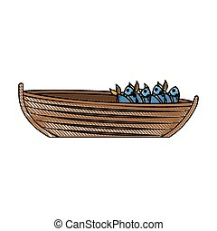 colored pencil silhouette of wooden fishing boat full of fish