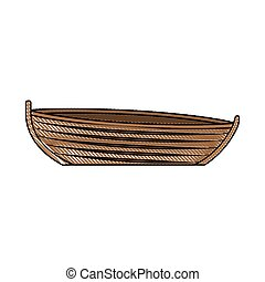 colored pencil silhouette of wooden fishing boat