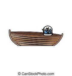 colored pencil silhouette of wooden fishing boat with bucket full of fish